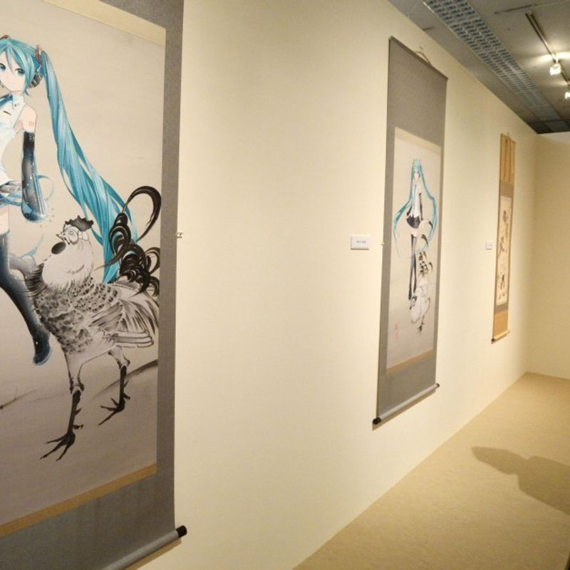 Virtual pop singer Hatsune Miku among characters featured in Kyoto exhibition photo