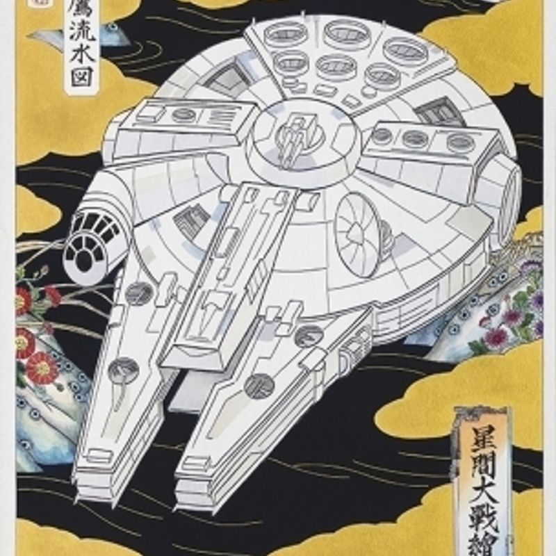 New and rare Star Wars ukiyo-e prints ready for sale ahead of 'Rogue One' release, Shinjuku photo