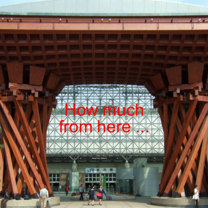 How much does it cost to travel from Tokyo to Kanazawa? photo