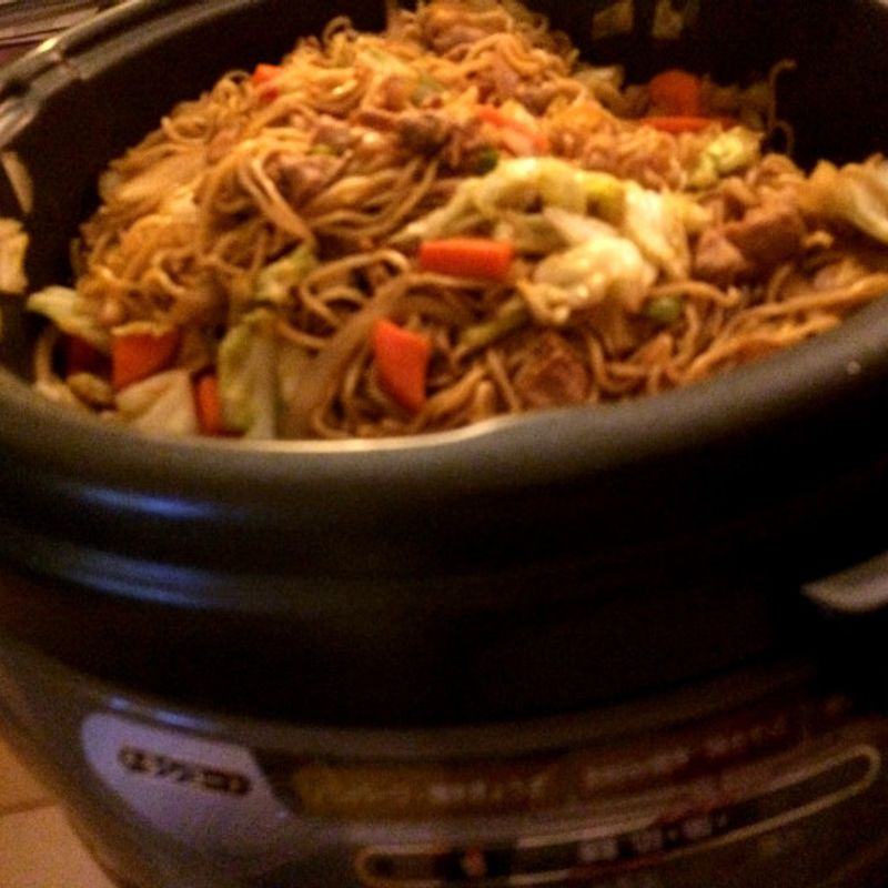 Yakisoba, On the Hot Plate, In Front of the TV .. Perfect! photo
