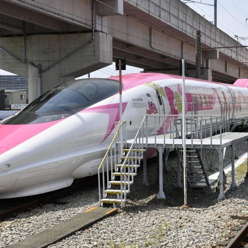 Hello Kitty bullet train shown to media ahead of debut photo