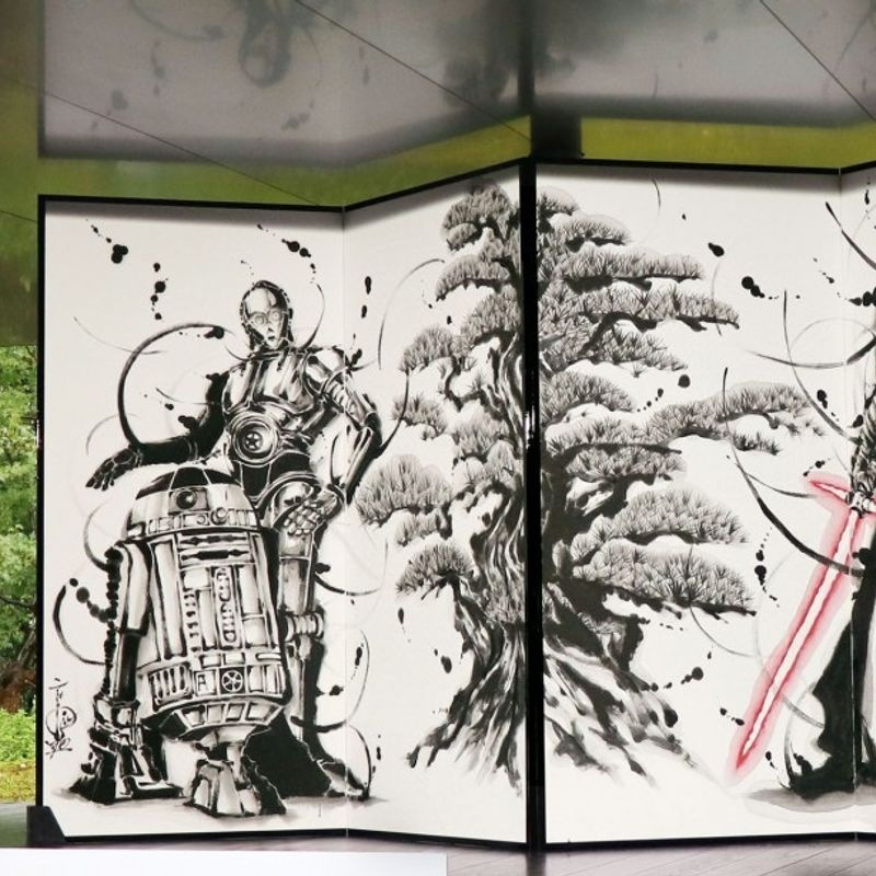 Star Wars-themed folding screen displayed at Kyoto temple photo