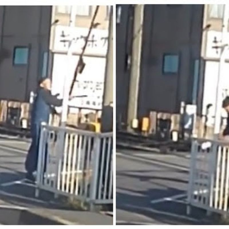 Man arrested after sawing off bars at congested crossing photo