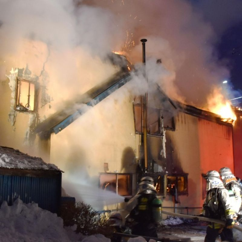 11 killed in fire at Sapporo facility for homeless elderly people photo