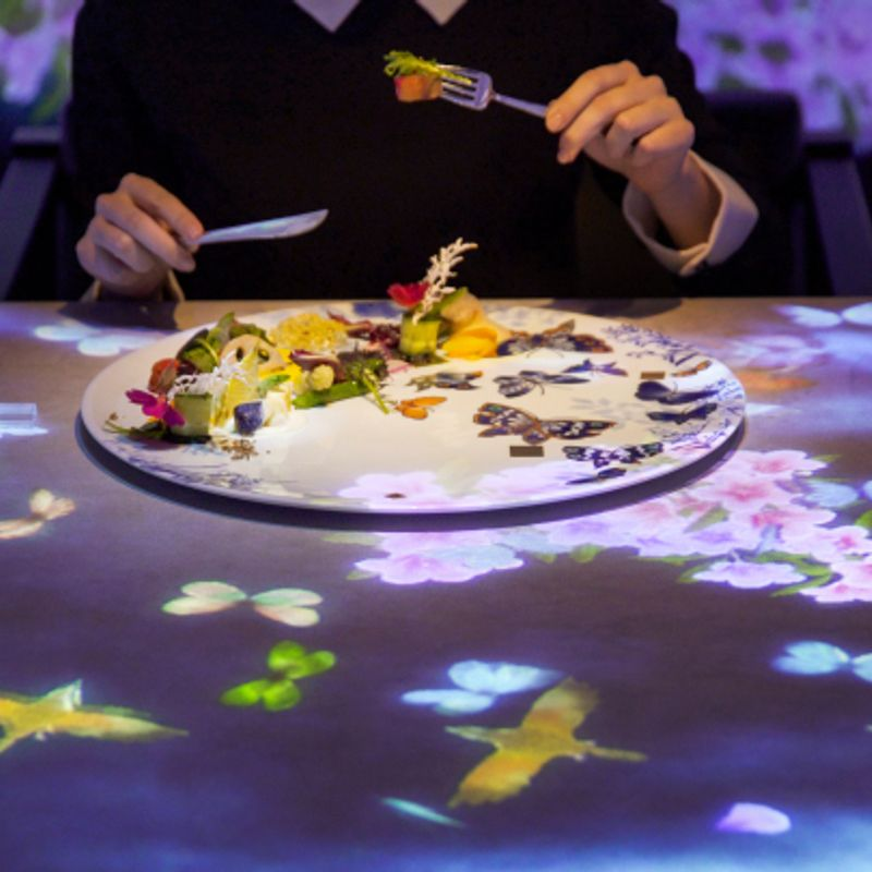 Guests, dishes, and food combine to create interactive art dining space, Ginza photo