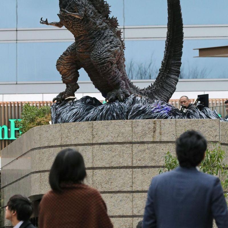 New Godzilla statue monsters revamped Tokyo shopping mall photo