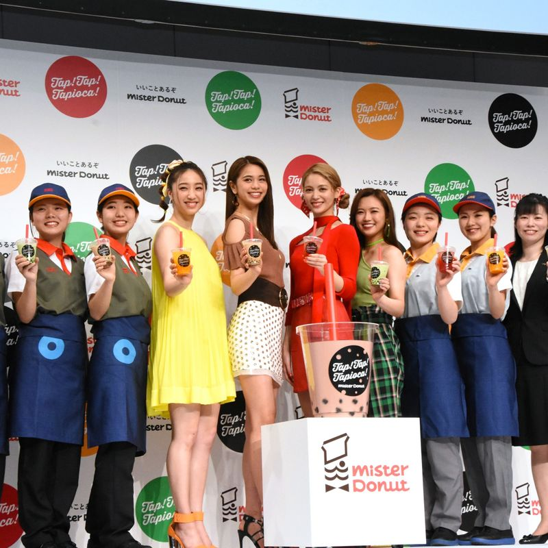 E-girls toast launch of tapioca drinks from Mister Donut photo