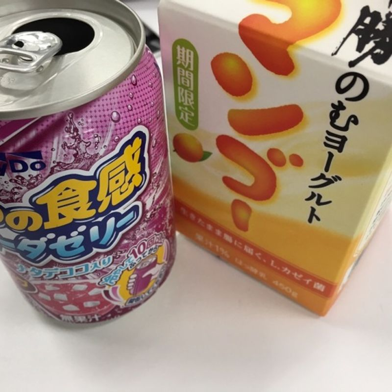 Special drink in Japan: Jelly in a can and mango yogurt photo